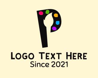 Brushstroke - Letter P Painter logo design
