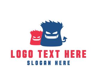 Naughty - Evil Monsters logo design