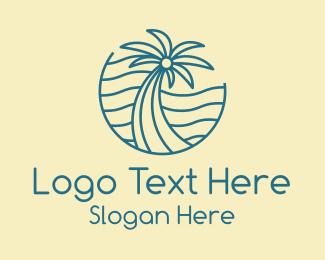 Palm - Tropical Palm Tree Monoline logo design