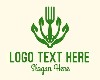 Healthy Eating - Organic Vegan Fork logo design