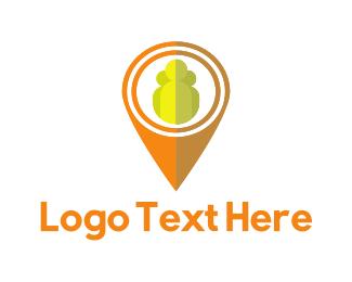 Localization - Orange Pin logo design