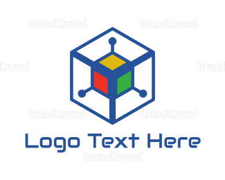 Data Transfer - Colorful Cyber Cube logo design
