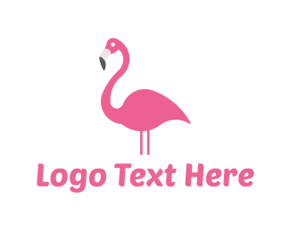 Beak - Pink Flamingo logo design