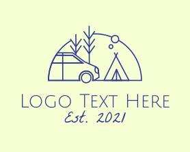 Hiking - Camper Van Camping logo design