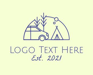 Camping Park - Camper Van Camping logo design