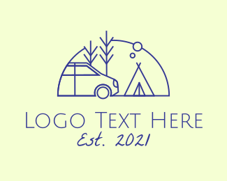 Camp - Camper Van Camping logo design