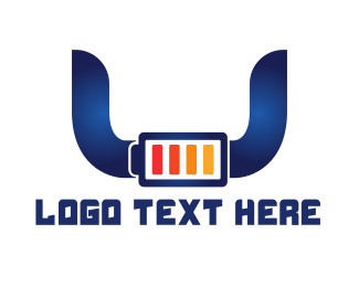 Charger - Blue Horns Battery logo design