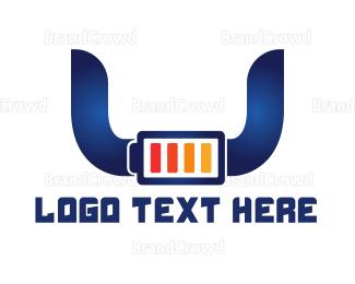 Cell - Blue Horns Battery logo design