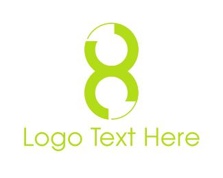 Octagon - Green Number 8 logo design