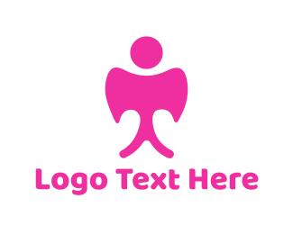 Cupid - Pink Angel logo design