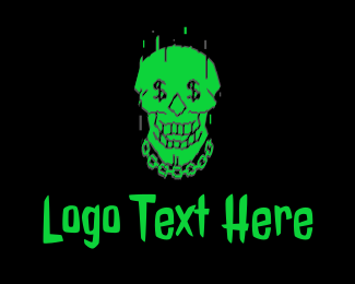 Grafitti - Neon Green Hiphop Skull logo design