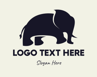 """Black Elephant Silhouette"" by LogoBrainstorm"