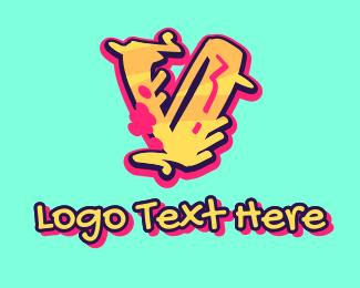 Graffiti   Artist - Graffiti Art Letter V logo design