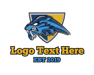 Fangs - Blue Lion Mascot logo design