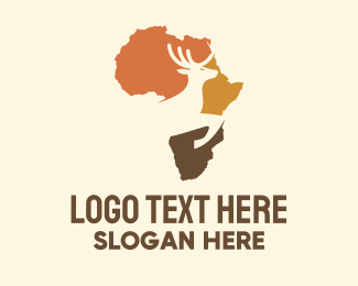 Fauna - Africa Map Deer Stag logo design