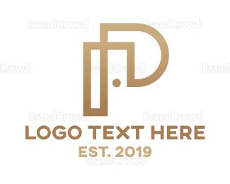 Carpenter - Gold Modern P logo design