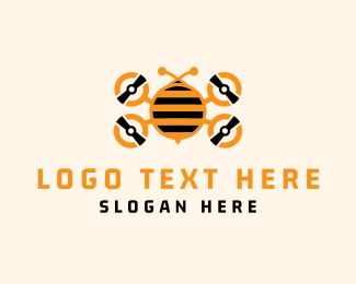 Orange Insect - Bee Drone logo design