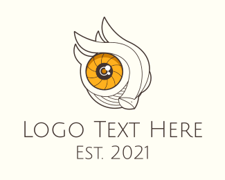Camera Lens - Owl Eye Camera Lens  logo design