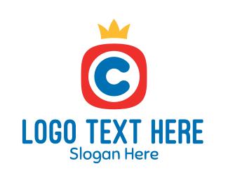 Tv Channel - Crown Letter C logo design