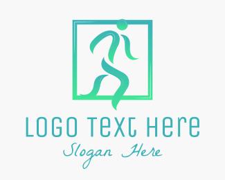 Running - Abstract Running Man logo design