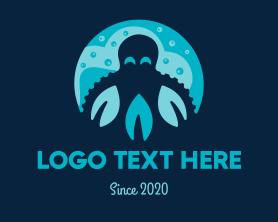 Squid - Octopus Water Leaves logo design