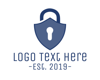 Blue Padlock - Lock Shield logo design
