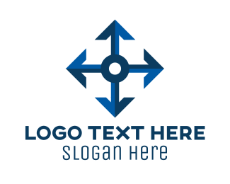 Stretch - Blue Directional Arrows logo design