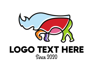 Rhino - Colorful Rhino logo design