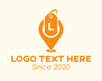 Geolocation - Orange Sale Locator Lettermark logo design