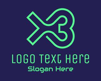 Neon Green - Neon Green X3 Gamer  logo design