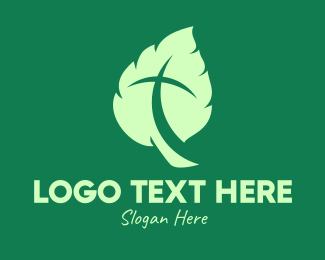 Diocese - Green Leaf Crucifix logo design