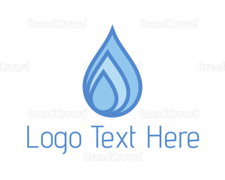 Dew - Blue Water Drops logo design