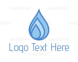 Pure - Blue Water Drops logo design