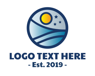 Travel Vlogger - Starry Ocean Sky logo design