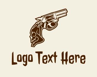 Shooting Game - Skull Pistol logo design