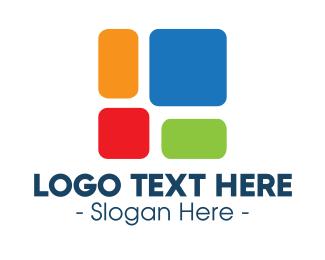 Rectangle - Multicolor Geometric Block logo design