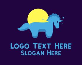 Little - Blue Little Unicorn logo design