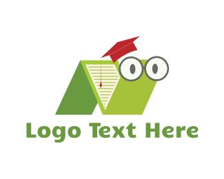 Worm - Book Worm logo design