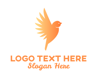 Animal - Orange Gradient Bird logo design