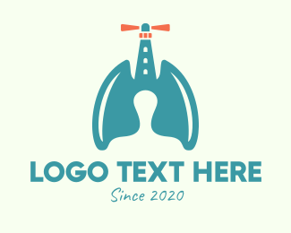 Oxygen - Lung Lighthouse Beacon logo design