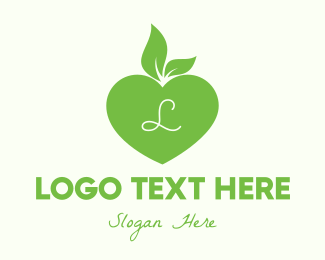 Healthy Food - Green Healthy Heart Lettermark logo design
