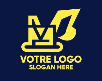 Construction Yellow Construction Excavator Digger logo design