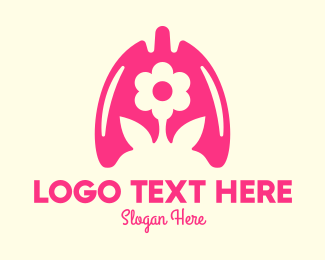 Oxygen - Pink Flower Respiratory Lungs logo design