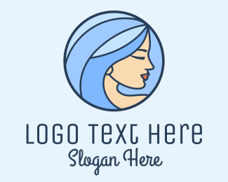 Pampering - Blue Hair Woman Profile logo design