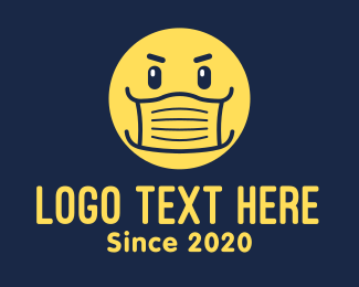 Surgical Mask - Yellow Face Mask Emoticon logo design