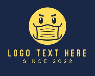 Surgeon - Yellow Face Mask Emoticon logo design