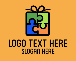 Gift Wrapping - Puzzle Gift logo design