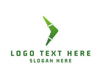 Play - Green Boomerang logo design