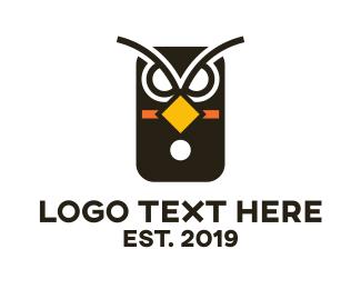 Angry - Owl Phone  logo design