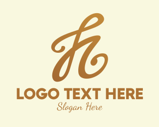 Typography - Elegant Bronze Letter H logo design